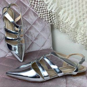 Zara Woman Silver Flat Heel Pointed Toe 40